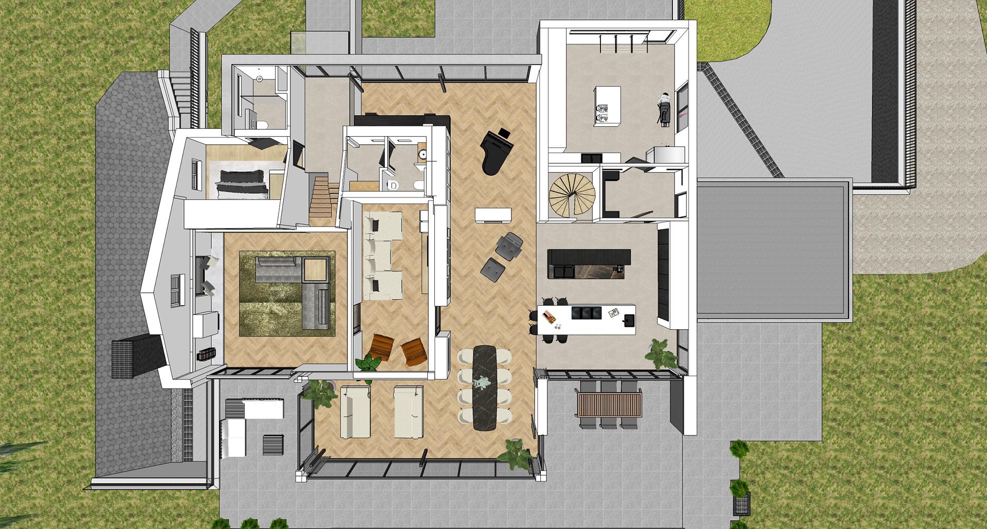 2d 3d bovenaanzicht indeling woonhuis